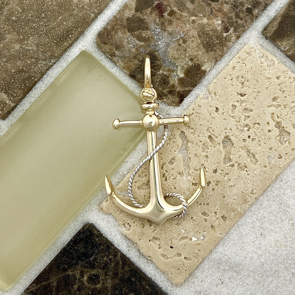 14k 2-Tone Anchor With Rope Pendant - DePaulas