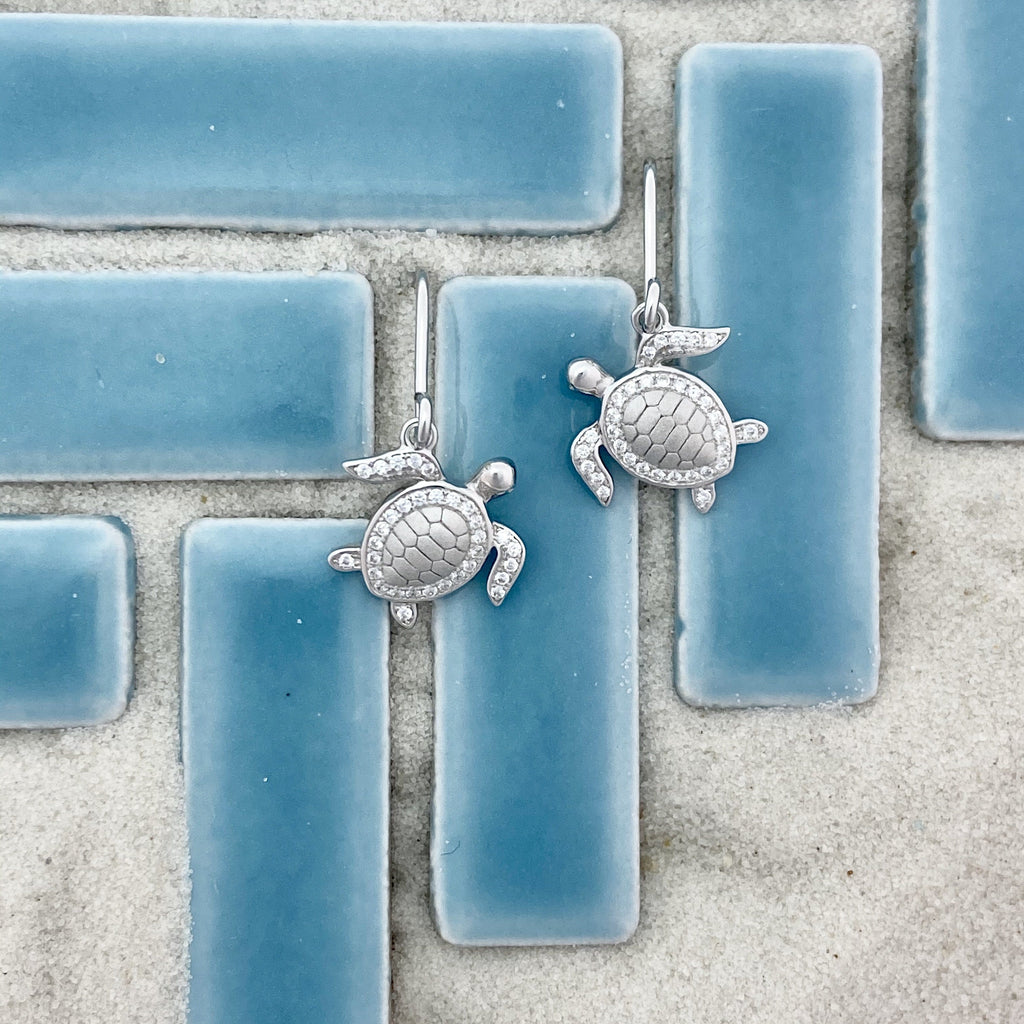 925 Sterling Silver Cubic Zirconia Turtle French Wire Earrings - DePaulas