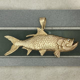 14k Yellow Gold Double Sided Tarpon With Diamond Eyes Pendant