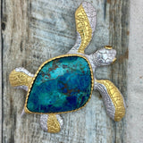 925 and 18k Gold Plating Chrysocolla Agate Large Turtle Kovel Collection Pendant