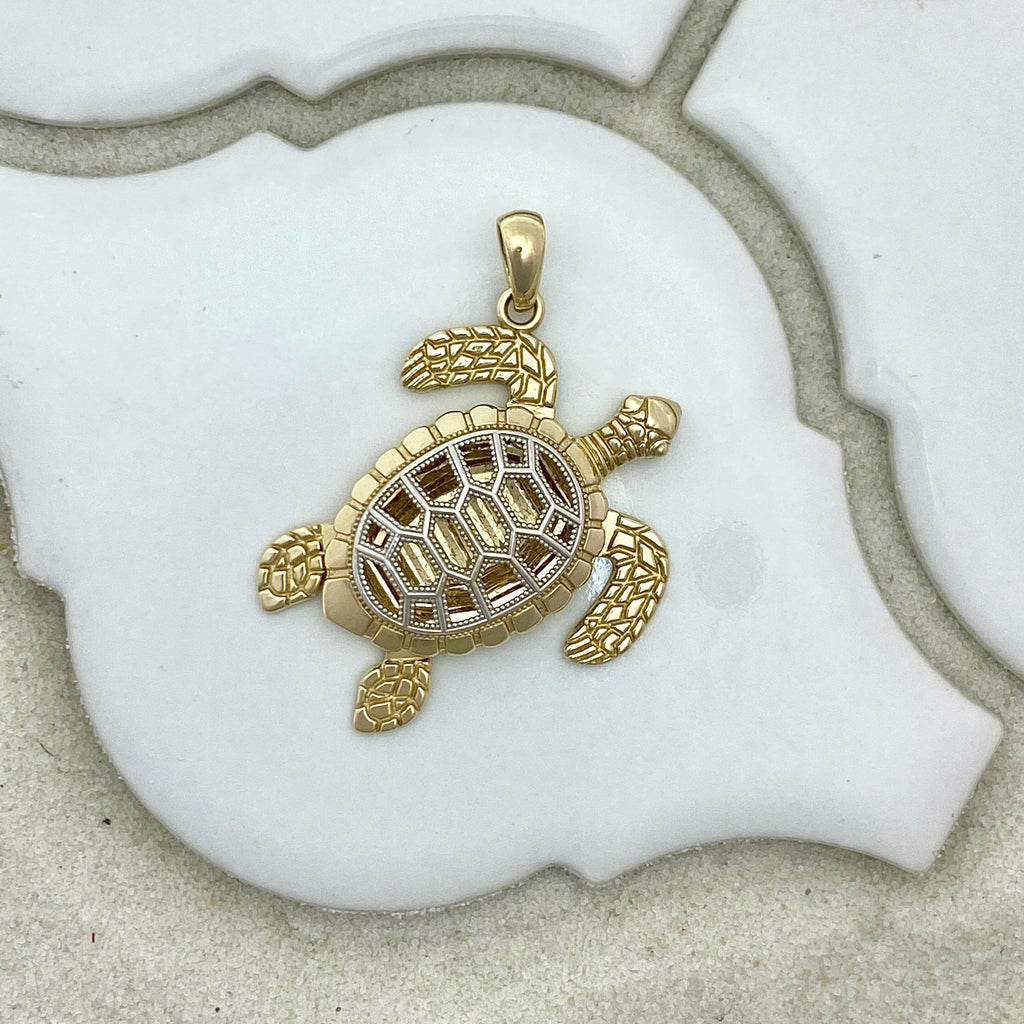 14k 2-Tone Gold Turtle With Movable Flippers Pendant - DePaulas