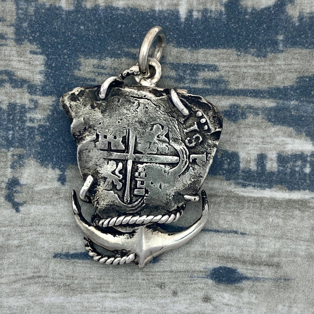 2 Reales 925 Sterling Silver Anchor Bezel Treasure Coin Pendant - DePaulas