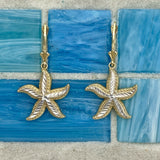 14k 2-Tone Large Diamond Cut Starfish Leverback Earrings