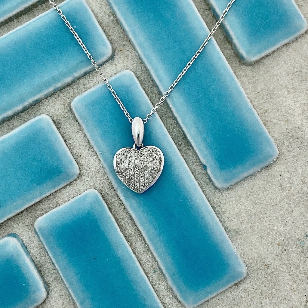 14k White Gold Pave Diamond .25cttw Heart Necklace - DePaulas