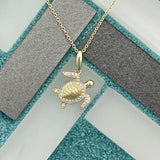 14k Yellow Gold Diamond .14cttw Turtle Necklace