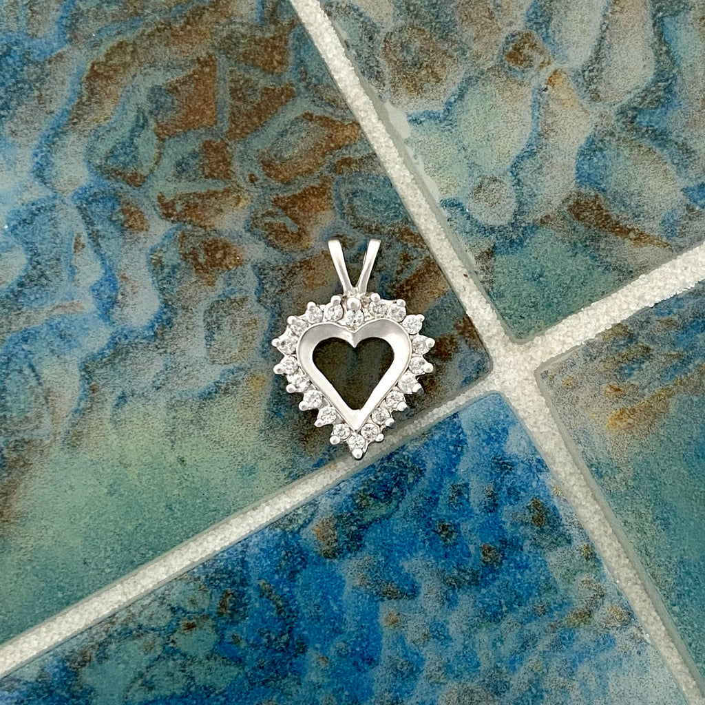 14k White Gold Diamond .25cttw Heart Pendant