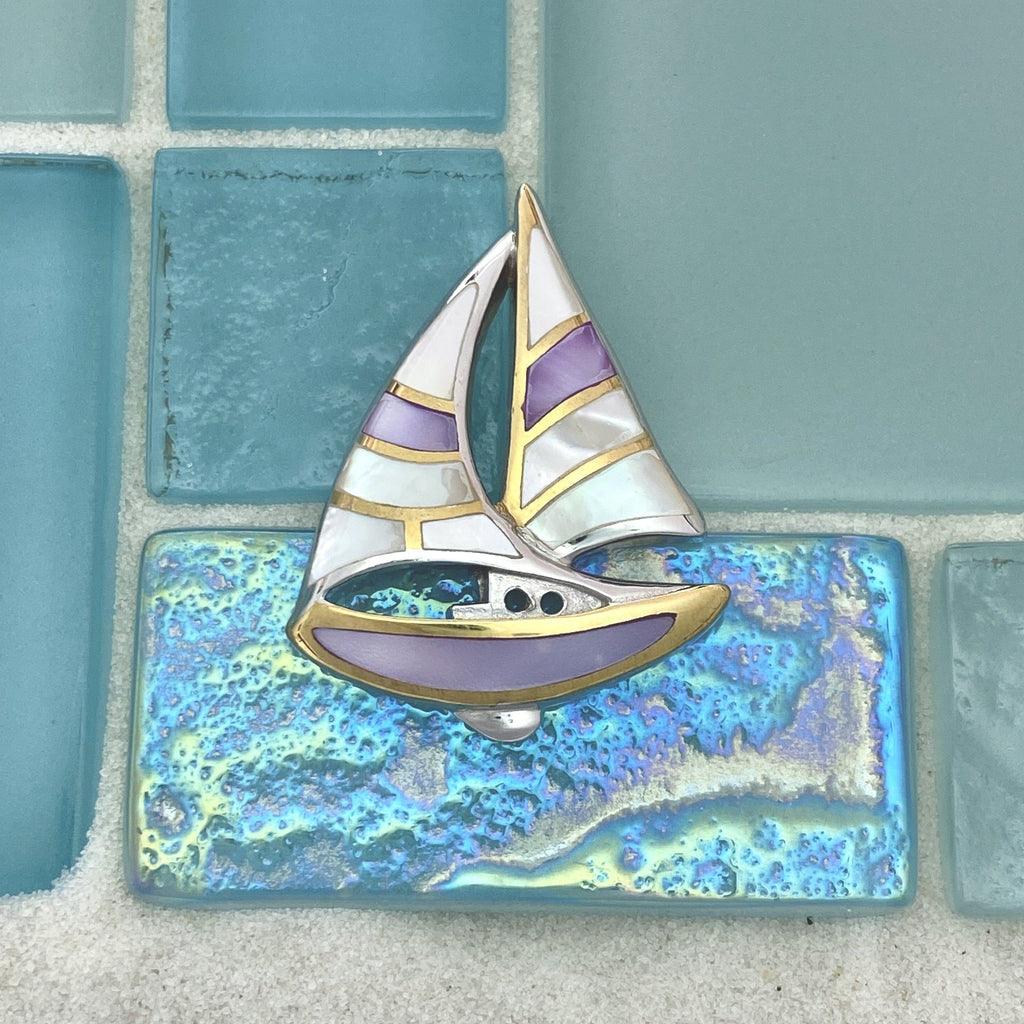 925 and 18k Gold Plating Purple and White Mother of Pearl Sail Boat Kovel Collection Pendant - DePaulas