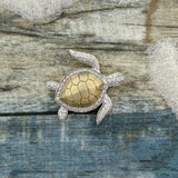 14k 2-Tone Gold Diamond .17cttw Turtle Pendant