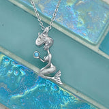 925 Sterling Silver Cubic Zirconia Mermaid Holding Larimar Necklace
