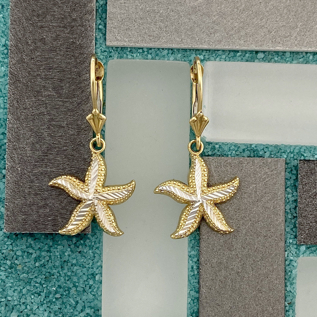 14k 2-Tone Gold Diamond Cut Starfish Leverback Earrings - DePaulas