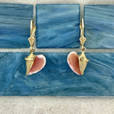 14k Yellow Gold Conch with Enamel Leverback Earrings
