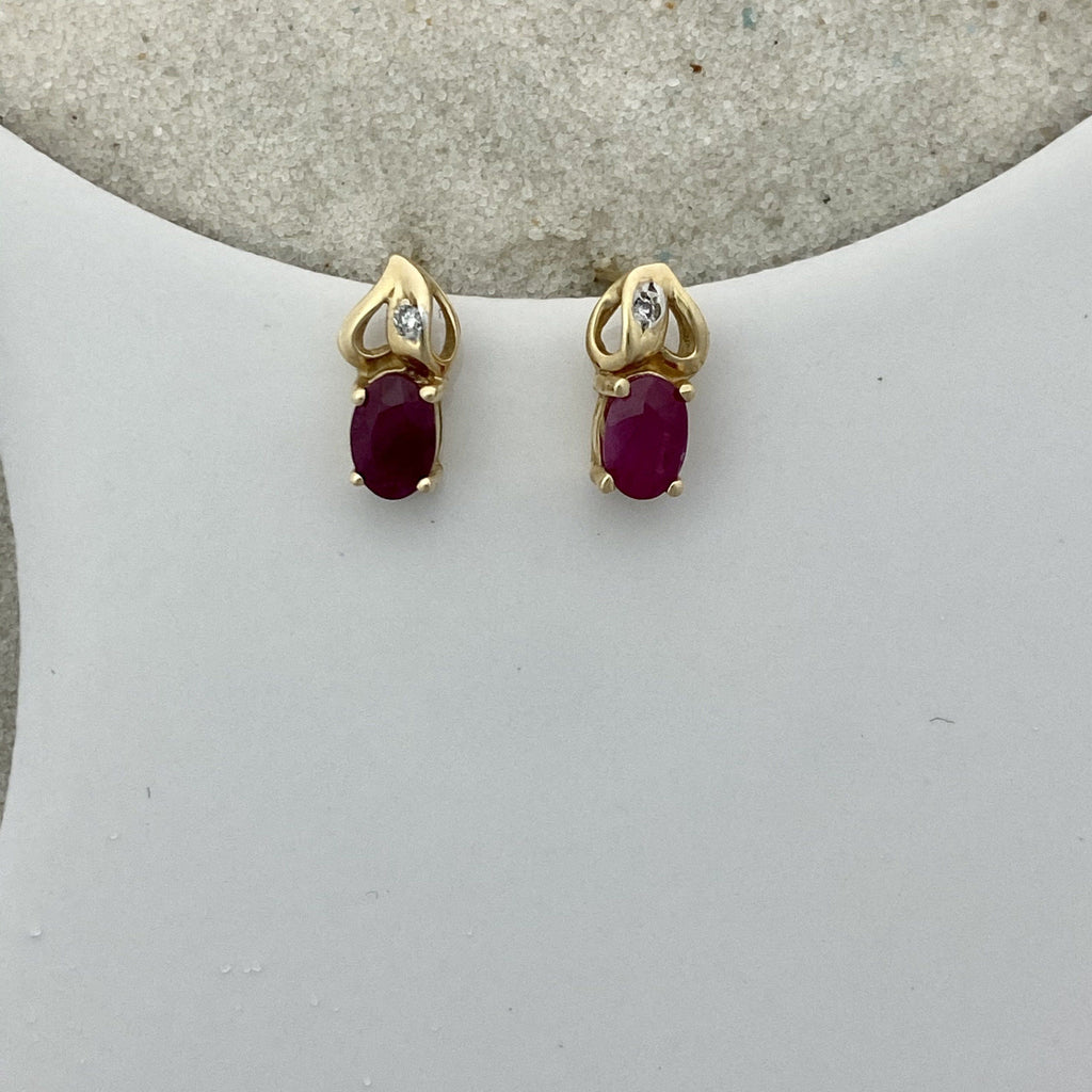 14k Yellow Gold Ruby With Diamond Accent Post Earrings - DePaulas