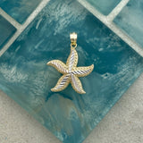14k 2-Tone Diamond Cut Starfish Pendant