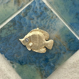 14k Yellow Gold Angel Fish With Diamond Eye Pendant