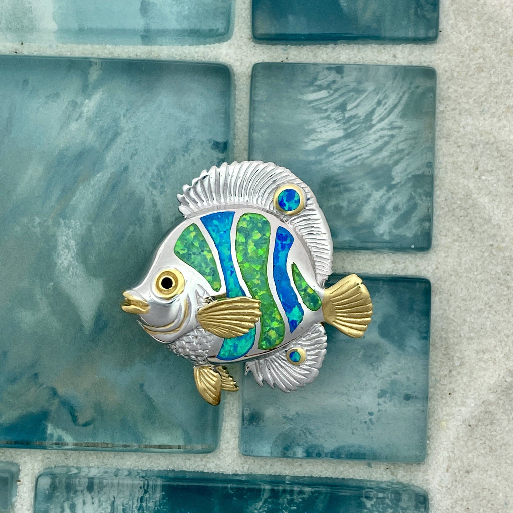 925 and 18k Gold Plating Synthetic Opal Reef Fish Kovel Collection Pendant - DePaulas