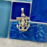 14k Yellow Gold Mariners Cross Pendant
