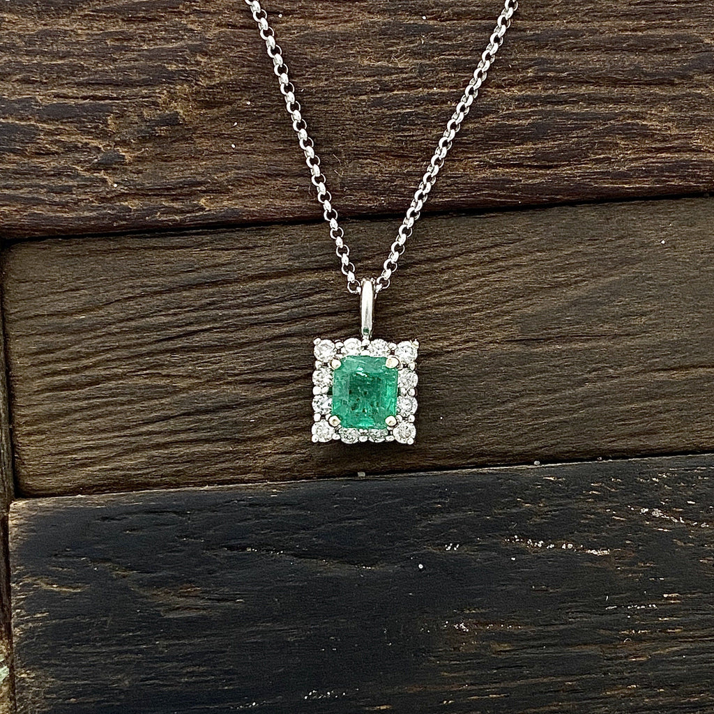 14k White Gold Princess Cut Emerald .48ct with Diamond Halo .26cttw Necklace - DePaulas