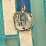 2 Reales Spain Mint Dated Circa 1560-1600 14k Yellow Gold Bezel Treasure Coin Pendant