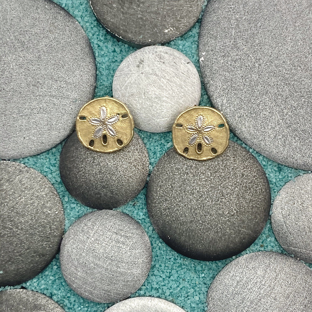 14k 2-Tone Gold Sand Dollar Post Earrings - DePaulas