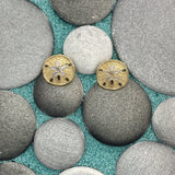14k 2-Tone Gold Sand Dollar Post Earrings