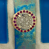 1 Reales Mexico City Mint Dated 1735 Ruler Phillip V 14k Yellow Gold with Ruby Treasure Coin Ring