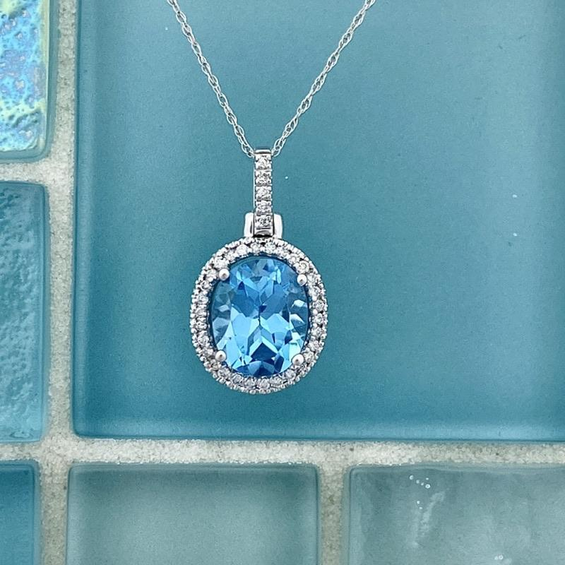 14k White Gold Oval Blue Topaz 2.80ct with Diamond Halo .16cttw Necklace - DePaulas