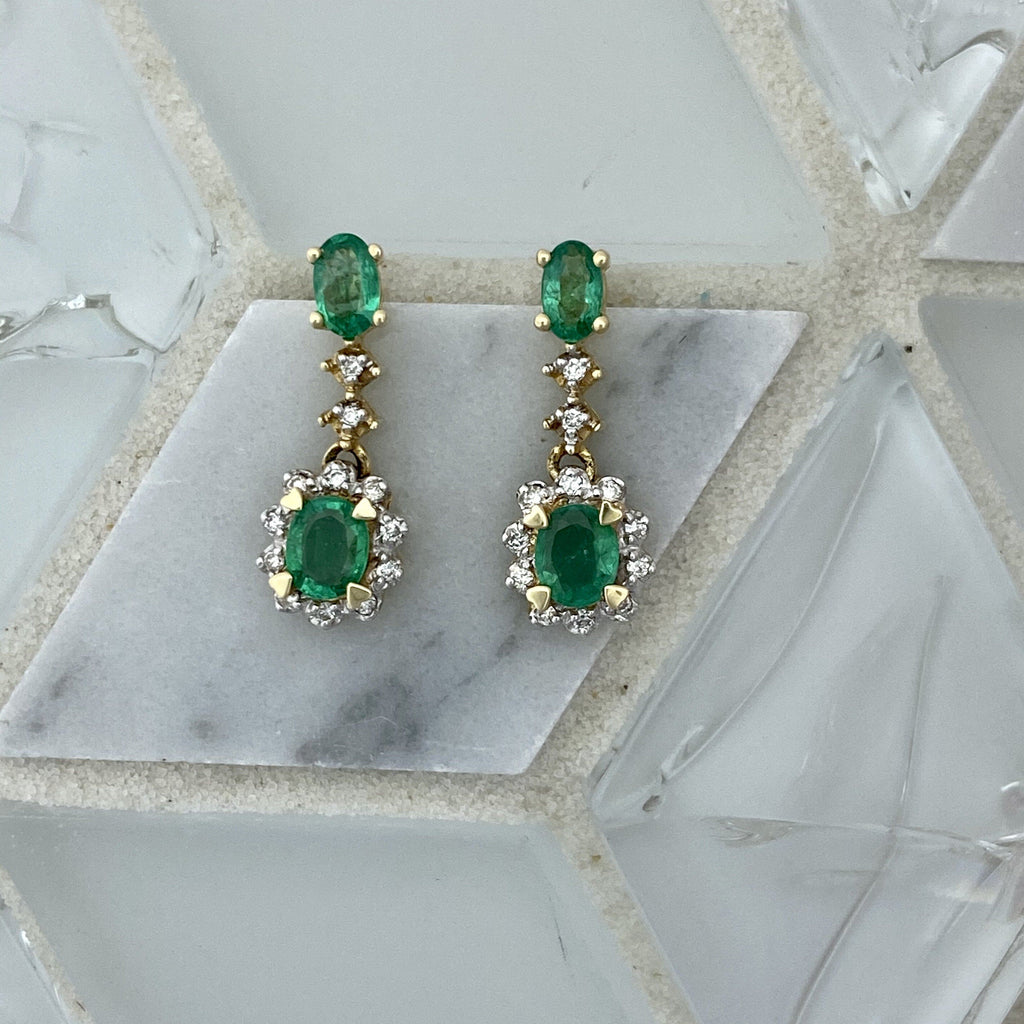 14k Yellow Gold Emerald .46cttw and Diamond .20cttw Post Earrings - DePaulas