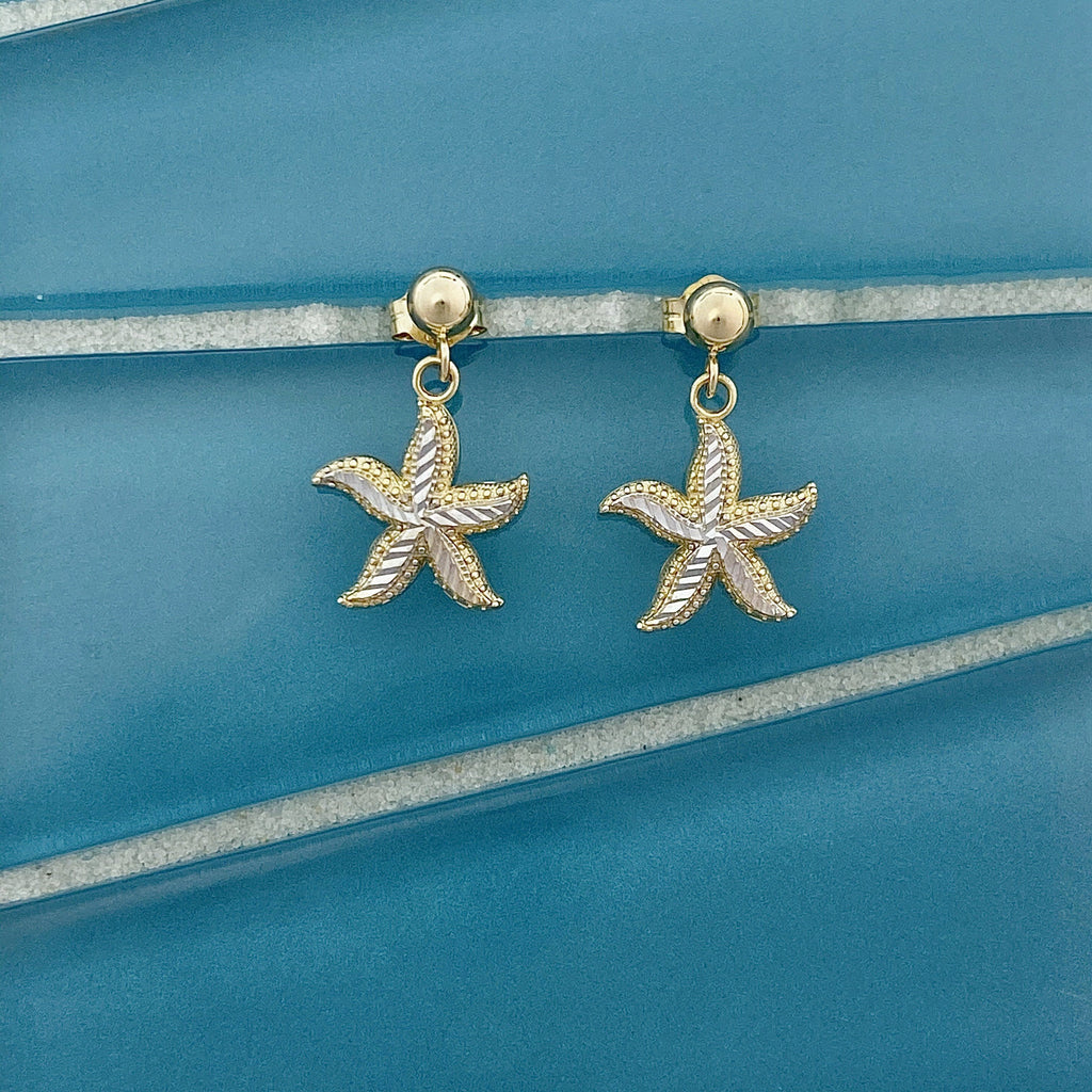 14k 2-Tone Gold Diamond Cut Small Starfish Dangle Post Earrings - DePaulas