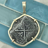 Cop8 Reales Mexico City Mint Circa 1618-1634 Assayer D 14k Yellow Gold Bezel Treasure Coin Pendant