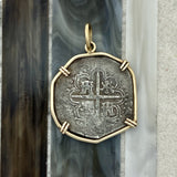 2 Reales Spain Mint Dated 1589 14k Yellow Gold Bezel Treasure Coin Pendant