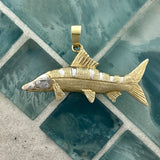 14k 2-Tone Gold Double Sided Snook With Diamond Eyes .05cttw Pendant