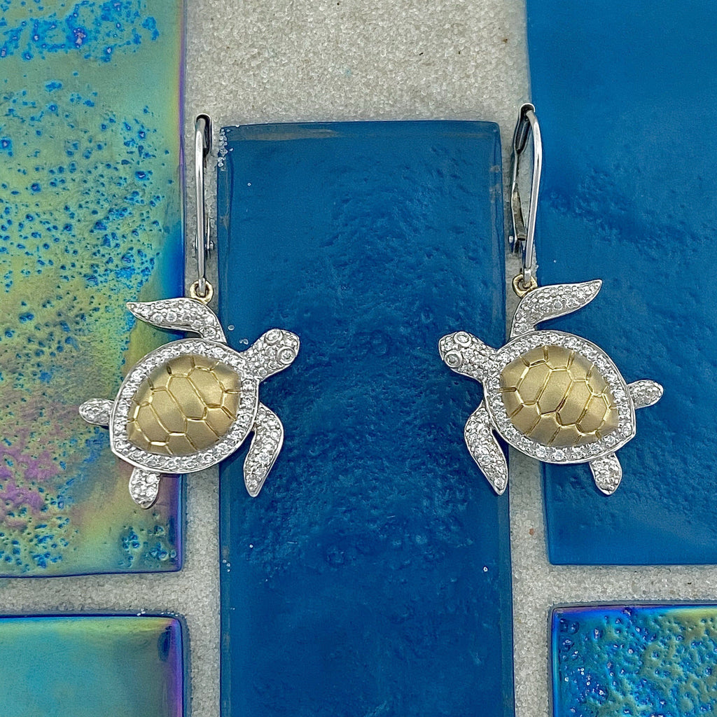 14k 2-Tone Diamond .33cttw Turtle Leverback Earrings - DePaulas