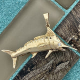 14k Yellow Gold Large Marlin With Diamond Eye Pendant