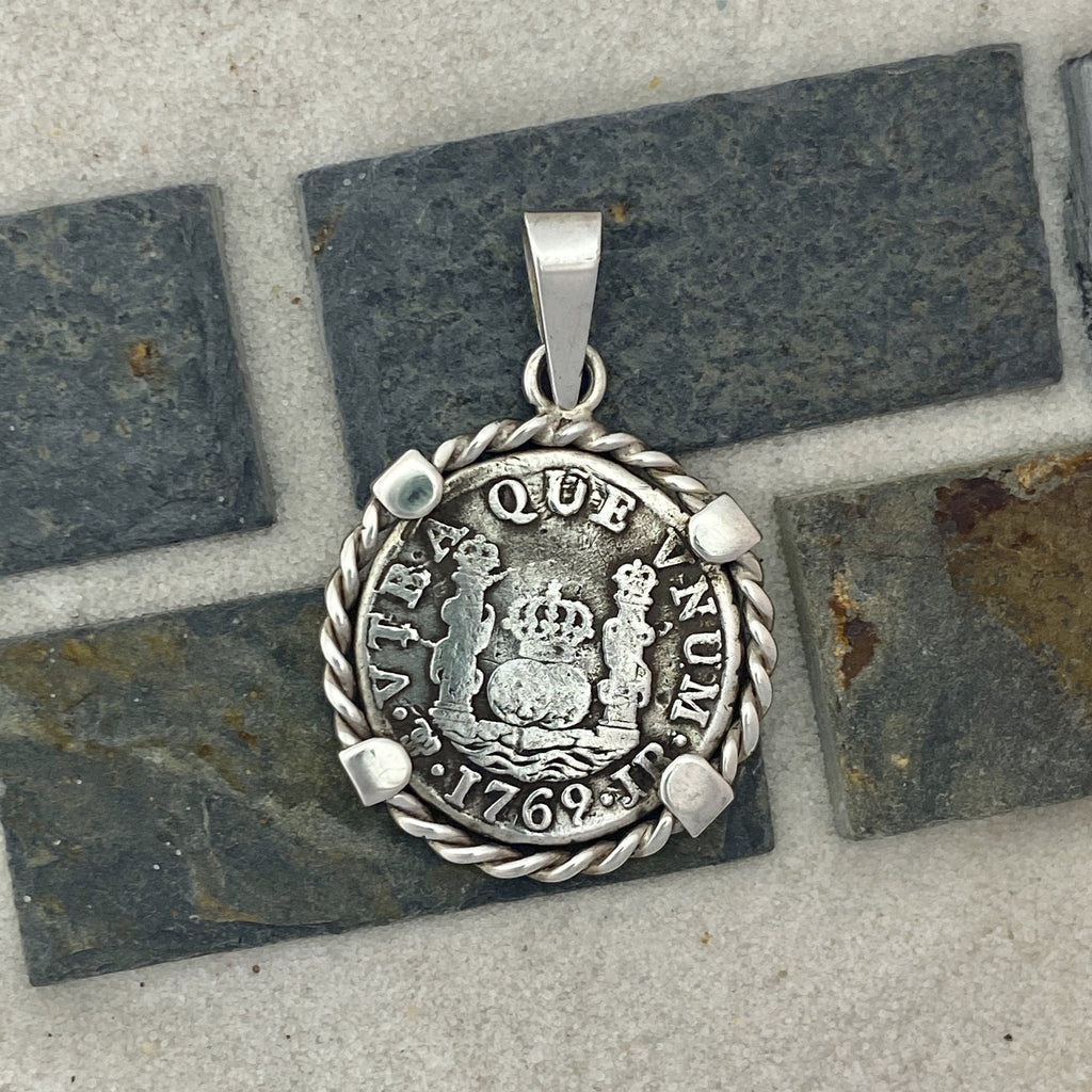 1 Reales Seville, Spain Mint Dated 1769 925 Sterling Silver Bezel Treasure Coin Pendant - DePaulas