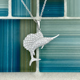 925 Sterling Silver Cubic Zirconia Sailfish Pendant