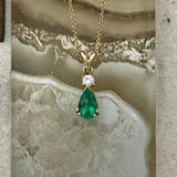 14k Yellow Gold Pear Shape Emerald 1.27ct With Diamond .22ct Necklace