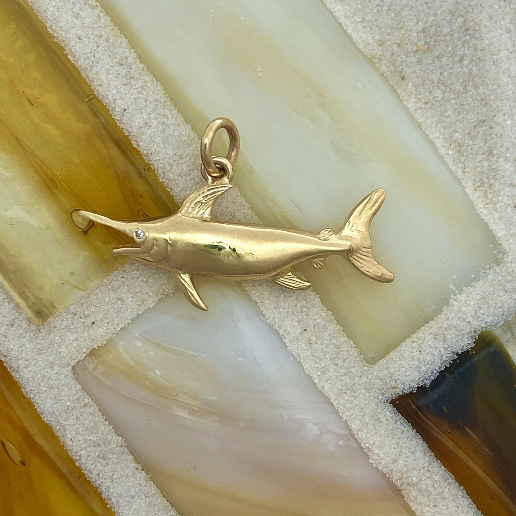 14k Yellow Gold Swordfish With Diamond Eye Pendant - DePaulas
