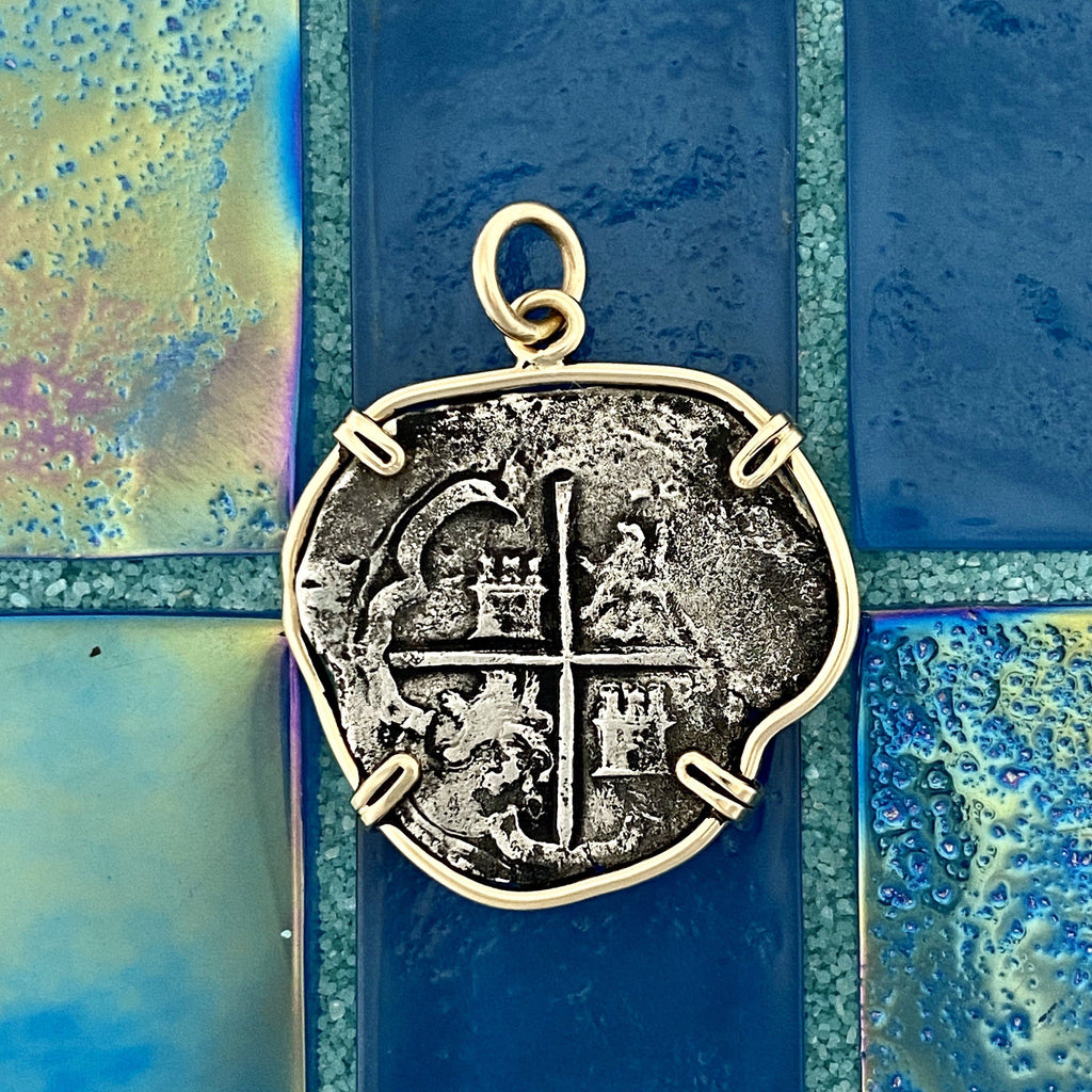 2 Reales Spain Mint Sea Salvage 14k Yellow Gold Bezel Treasure Coin Pendant - DePaulas