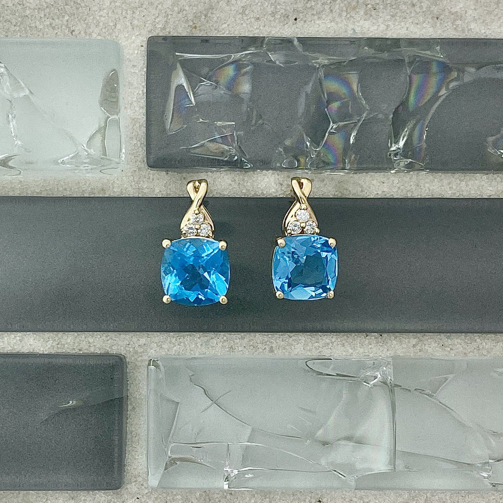 14k Yellow Gold Blue Topaz With Diamond Accents Post Earrings - DePaulas