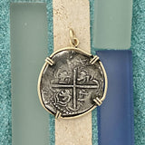 2 Reales Potosi Mint Sea Salvage 14k Yellow Gold Bezel Treasure Coin Pendant