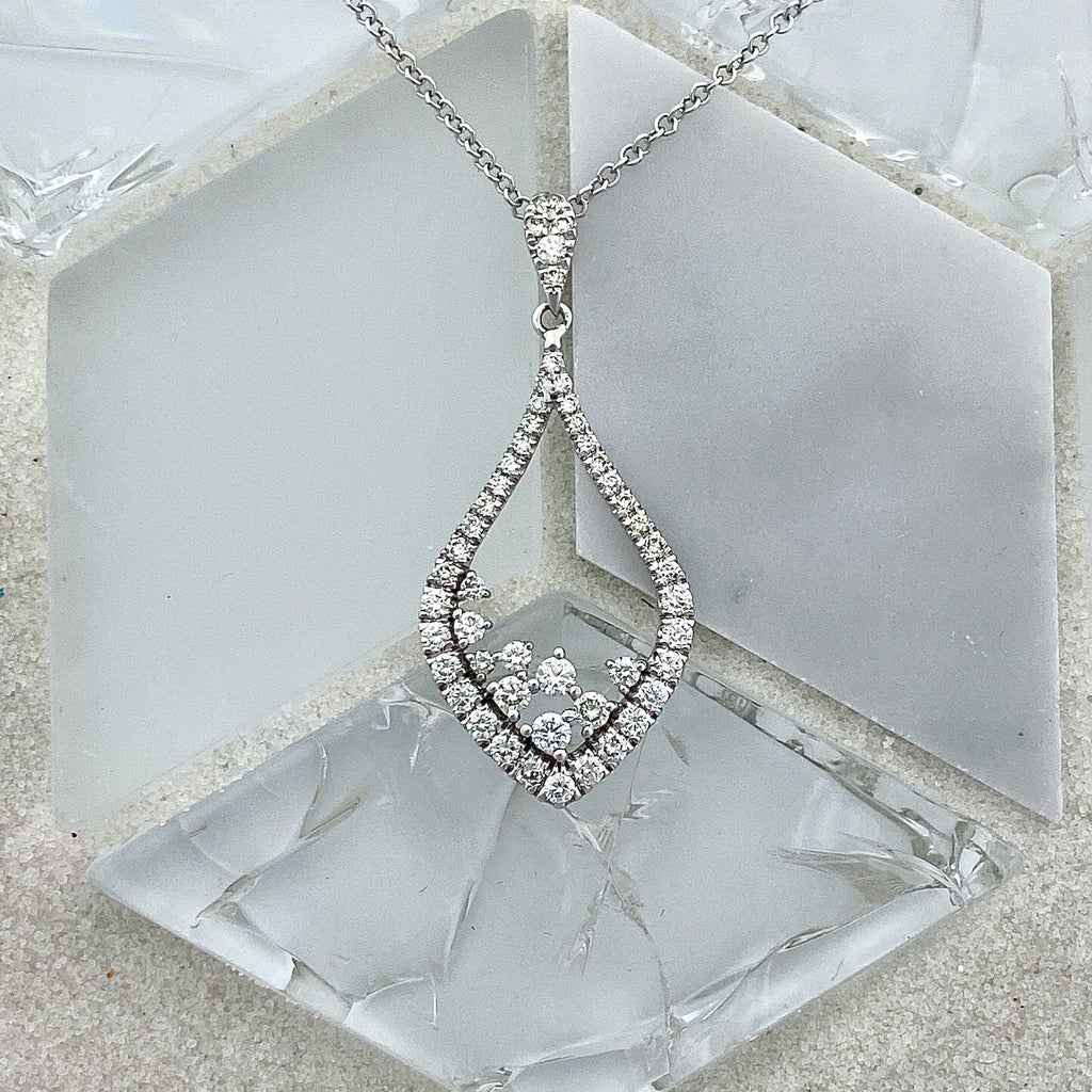 14k White Gold Diamond .57cttw Necklace - DePaulas