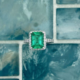 18k White Gold Emerald 2.17ct with Diamond Accents .62cttw Ring