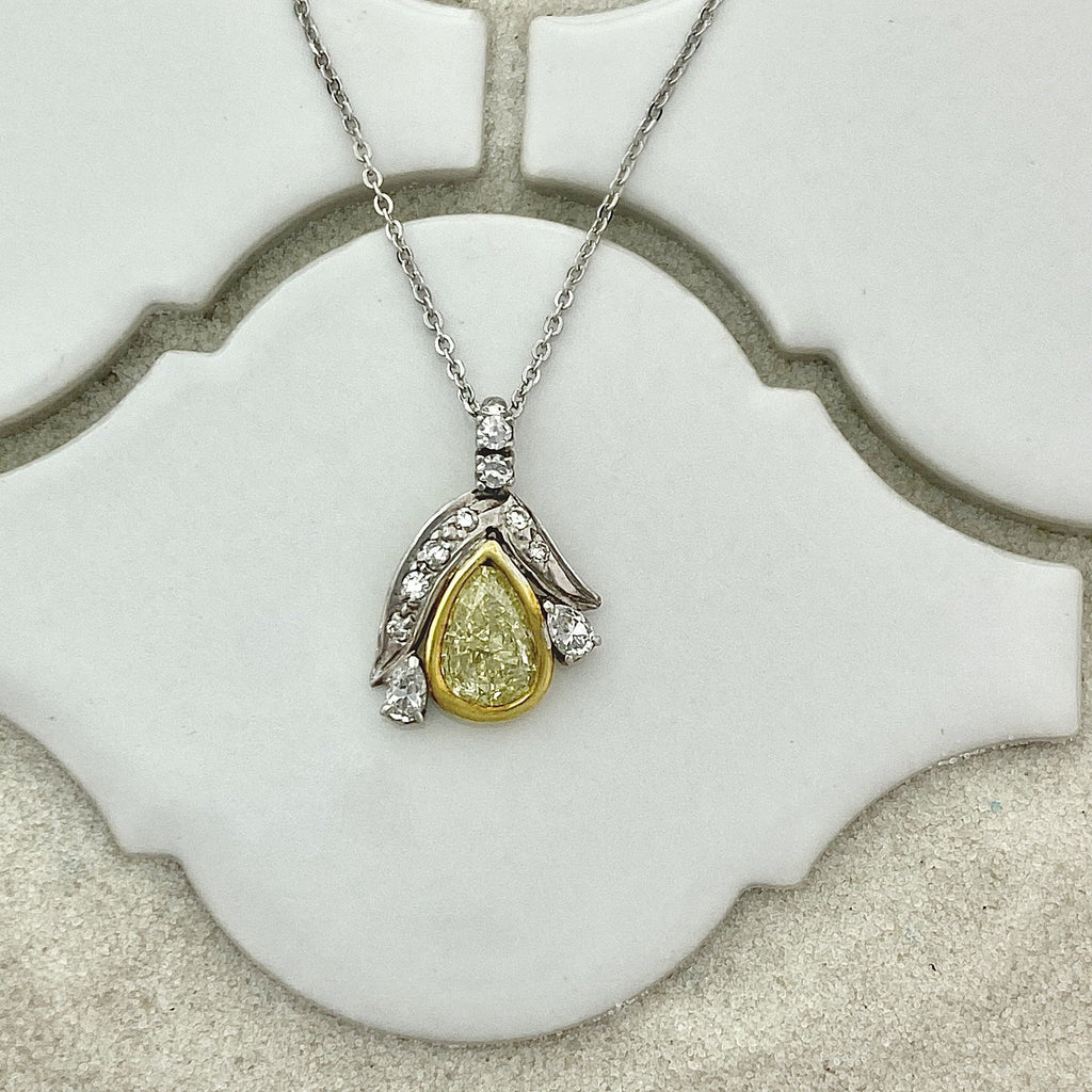14k 2-Tone Gold Natural Yellow Diamond .75ct with Diamond Accents .25cttw Necklace - DePaulas