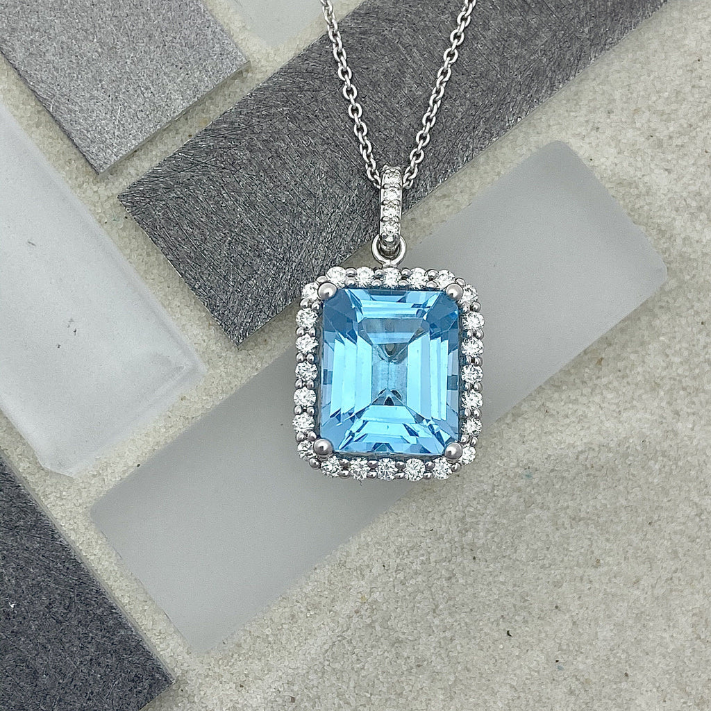14k White Gold Blue Topaz 7.05ct with Diamond Halo .50cttw Necklace - DePaulas
