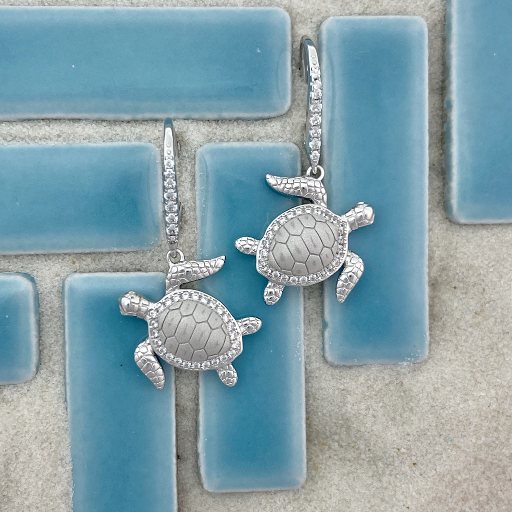 925 Sterling Silver Turtle With Cubic Zirconia Lever Back Earrings - DePaulas