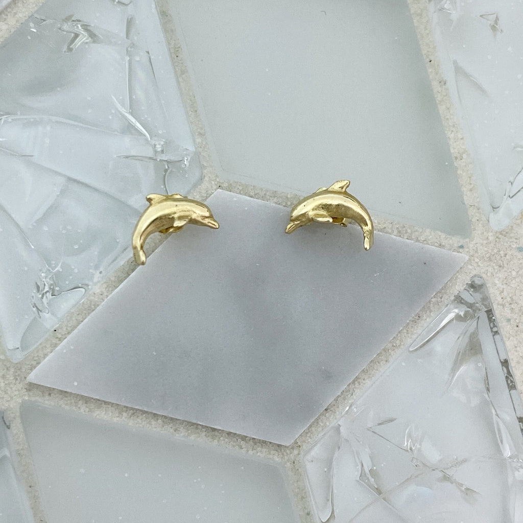 14k Yellow Gold Small Dolphin Post Earrings - DePaulas