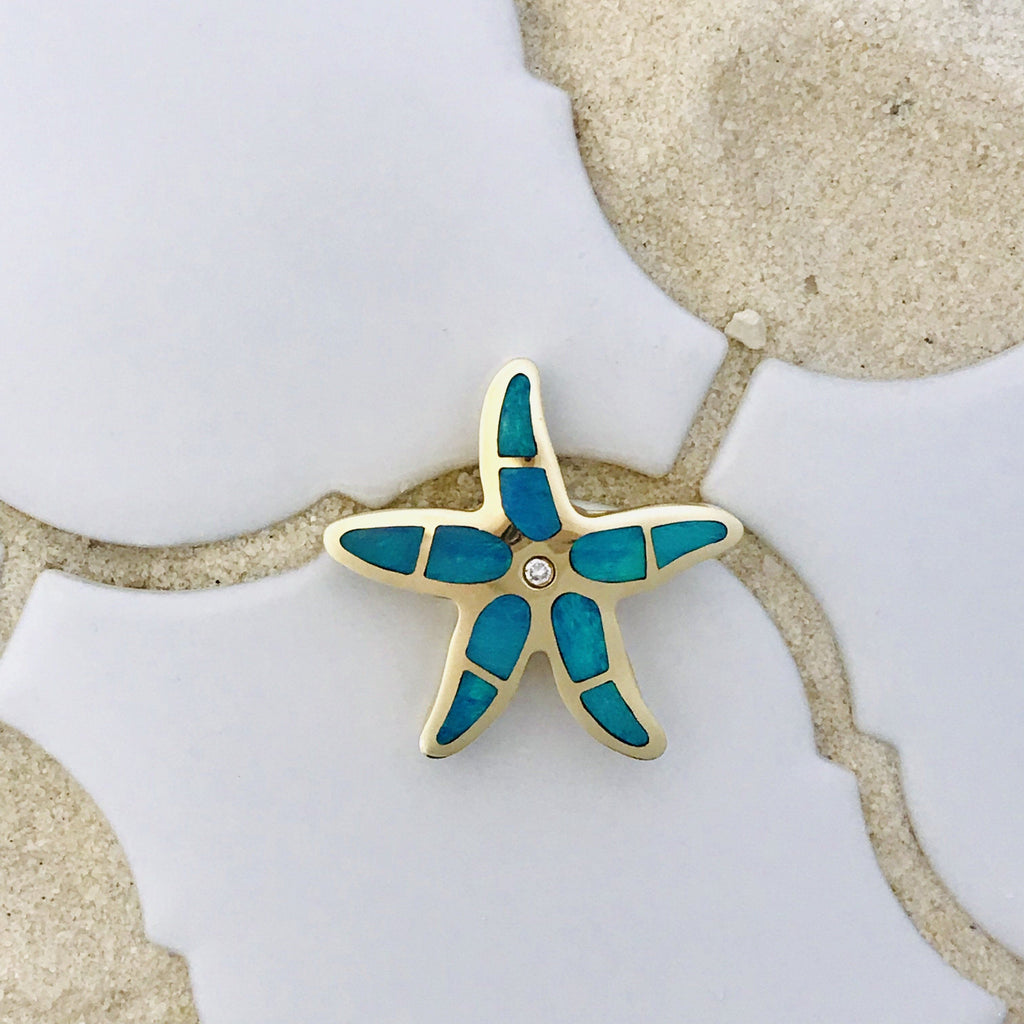 14k Yellow Gold Opal Inlay with Diamond .04ct Starfish Pendant - DePaulas