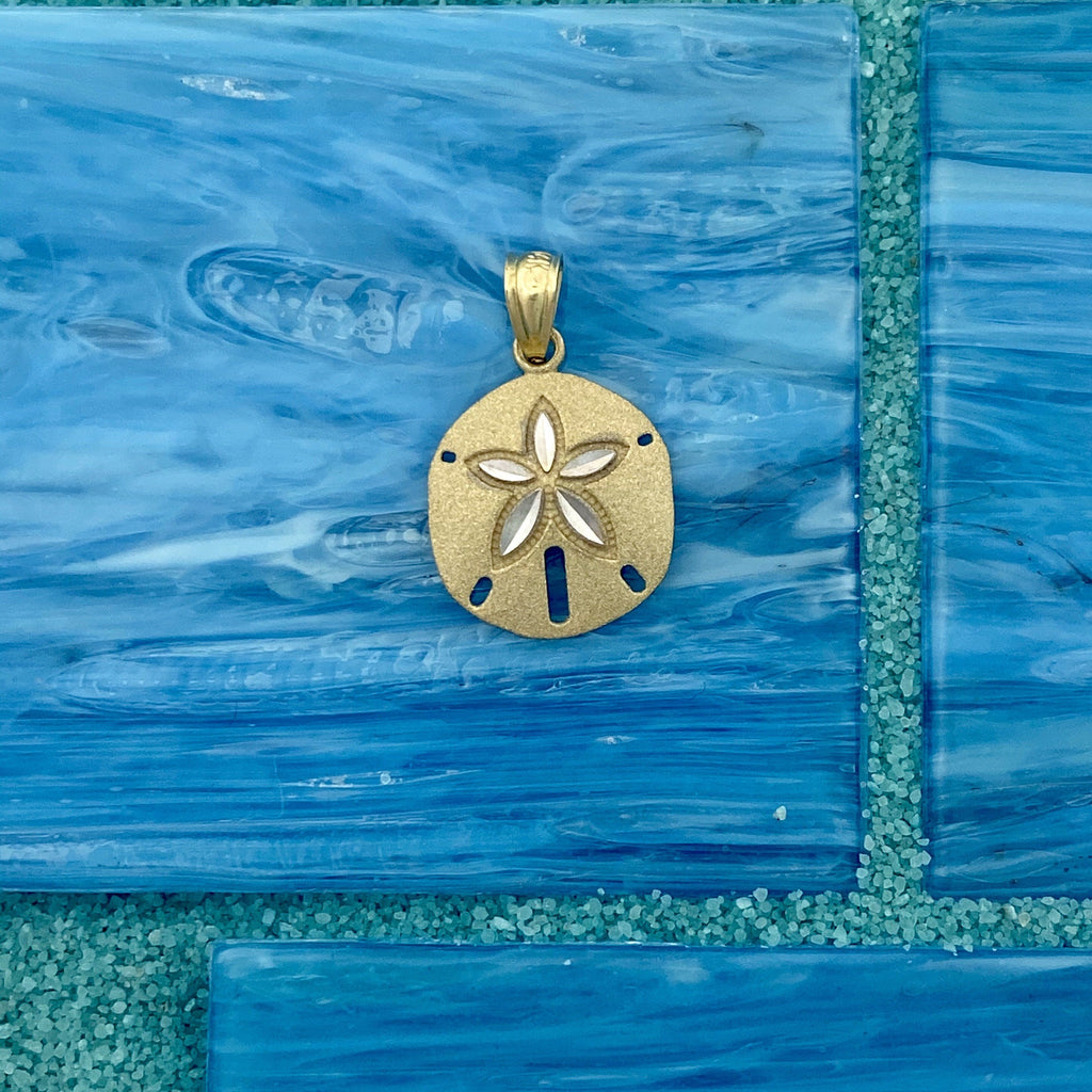 14k 2-Tone Gold Diamond Cut Sand Dollar Pendant - DePaulas