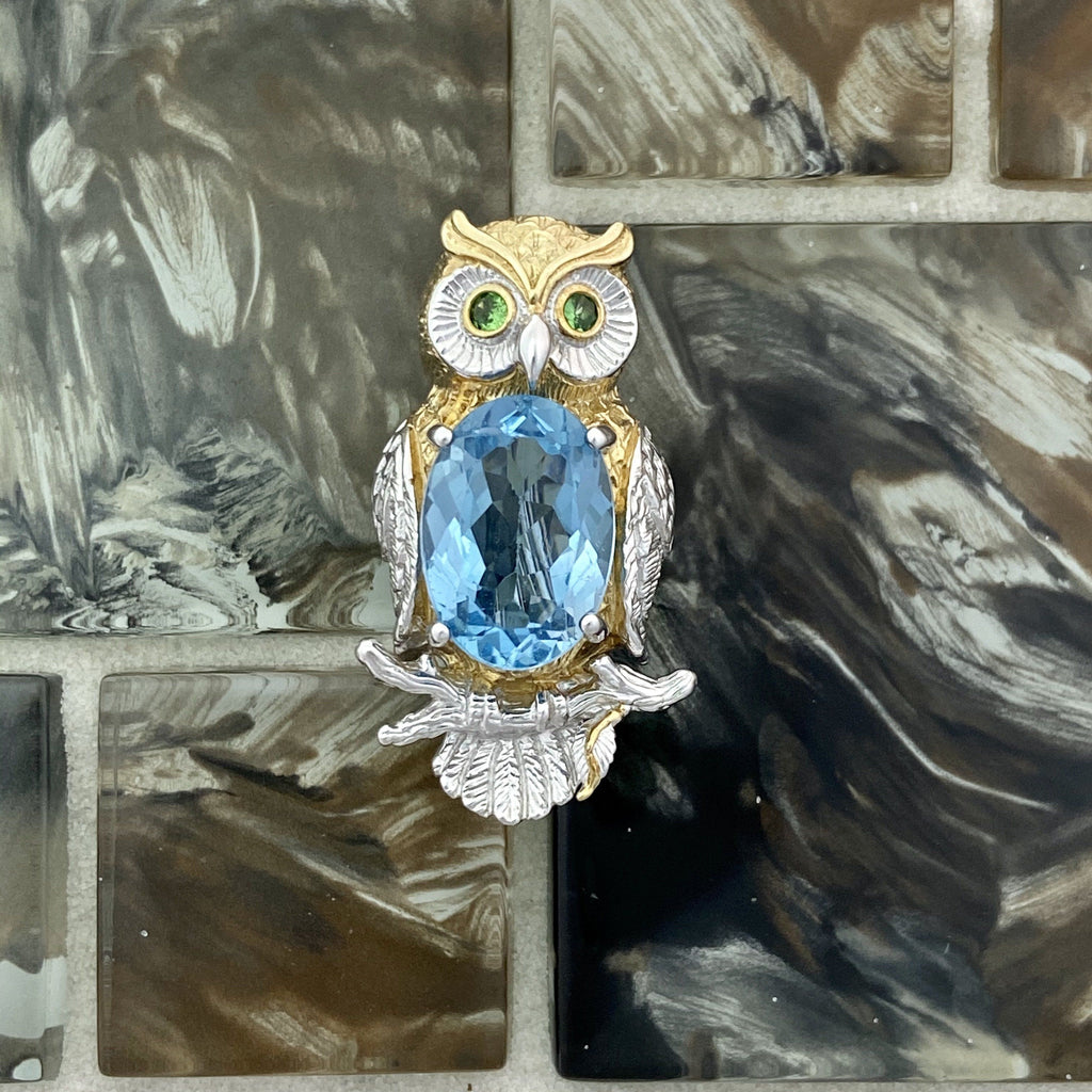 925 and 18k Gold Plating Owl with Blue Topaz and Tsavorite Eyes Kovel Collection Broach and Pendant - DePaulas