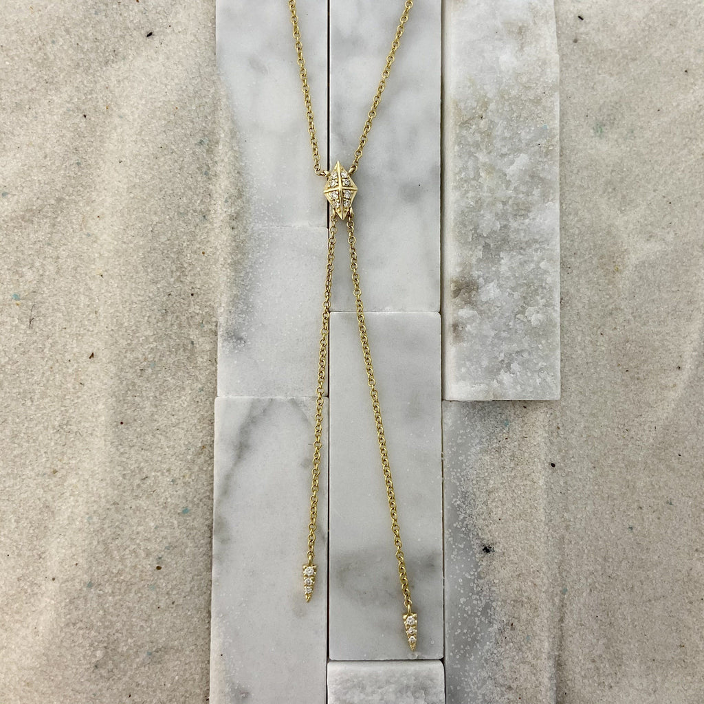 14k Yellow Gold Diamond .08cttw Y Knot Necklce